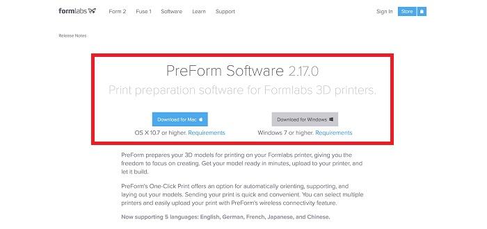 Form2 ソフトウェア PreForm ダウンロード