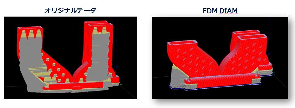 DFAMでサポート材がつかないように最適化される。